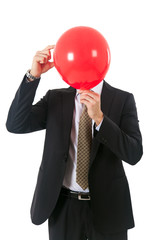 Businessman with a ball instead of his head