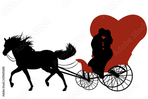 Black silhouette of a horse with red carriage