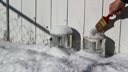 Paint cans frozen