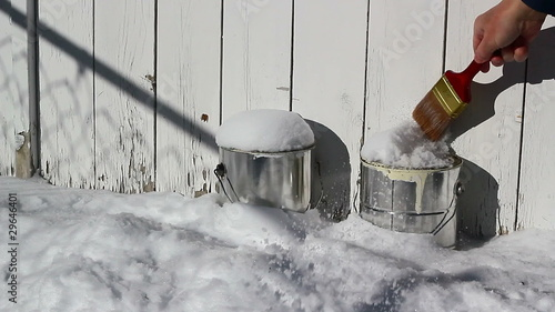 Paint cans frozen