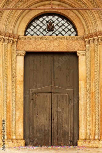 Entrance to Modena Cathedral on Piazza Grande, Modena, Italy