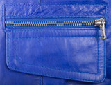 Blue genuine leather pockets and locking zipper poster