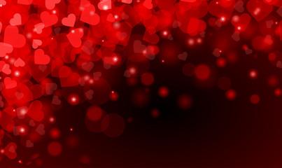 Rote Herzen im siebten Himmel