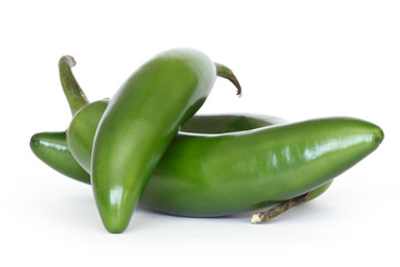 serrano peppers isolated on white