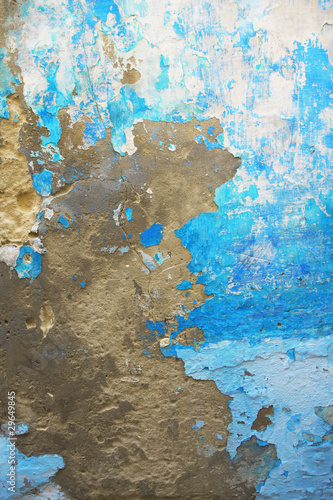 Old blue grungy wall texture Peeling stained surface background