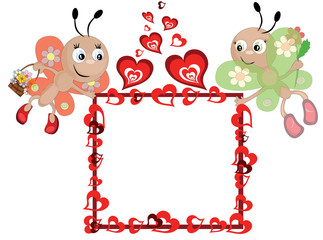 Frame with hearts and butterflies
