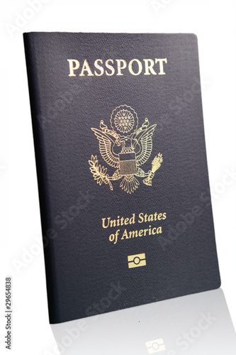 us united states america passport isolated reflection