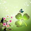 St. Patrick's Day background with flowers and butterflies