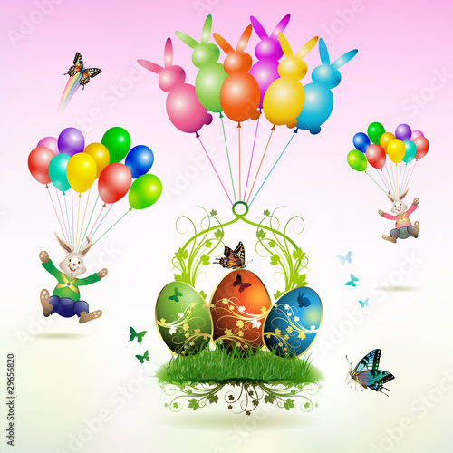 Easter card, bunnies flying with balloons