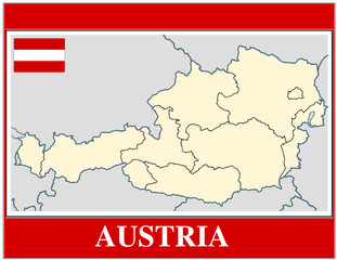 Austria national emblem map coat flag business background
