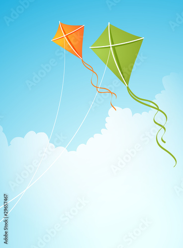 two kites in the sky