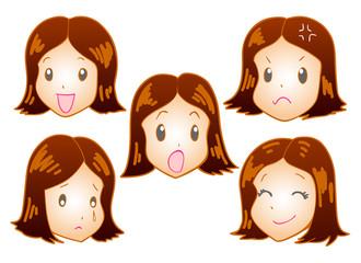 若い女性 喜ぶ悲しむ怒る驚く泣く笑う
