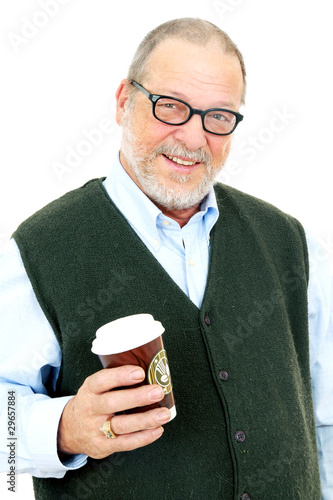 Senior man with coffee