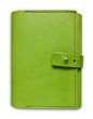 green leather case notebook isolated