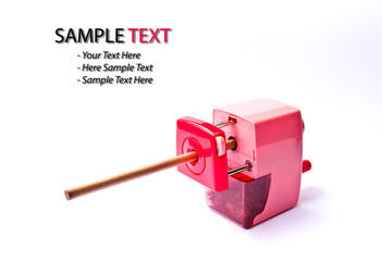 pink pencil sharpener isolated
