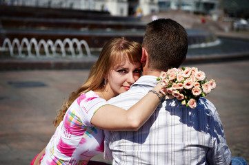 Romantic hug the guy and girl