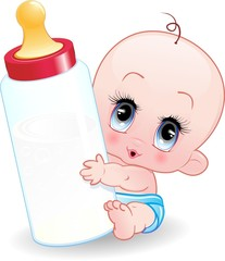 Neonato Bebè con Biberon-Baby with Baby Bottle-Vector