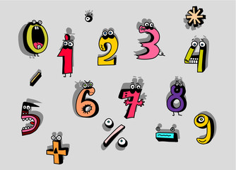 Cartoon Numbers Set