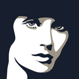 Woman face with beautiful eyes, vector illustration