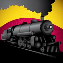 Illustration of old stylized locomotive.