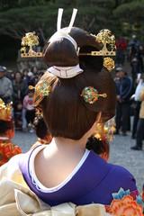 日本人女性 着物 かつら 鬘 後ろ姿