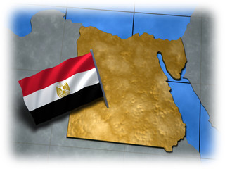 Egypt country with its flag on a white edge