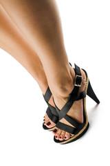 piedi di donna con scarpe nere