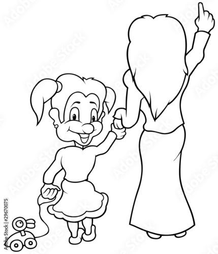 little cartoon girl smiling. Mother and Little Girl - Black