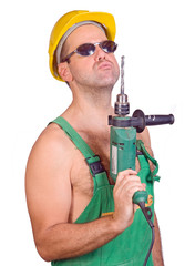 Serviceman with drilling maching