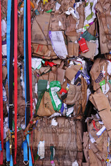 Cardboard Stacked for Processing at a Recycling Plant