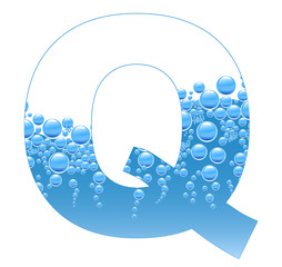 Bubbles and Water Isolated Alphabet Letter Q