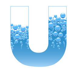 Bubbles and Water Isolated Alphabet Letter U
