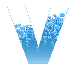 Bubbles and Water Isolated Alphabet Letter V