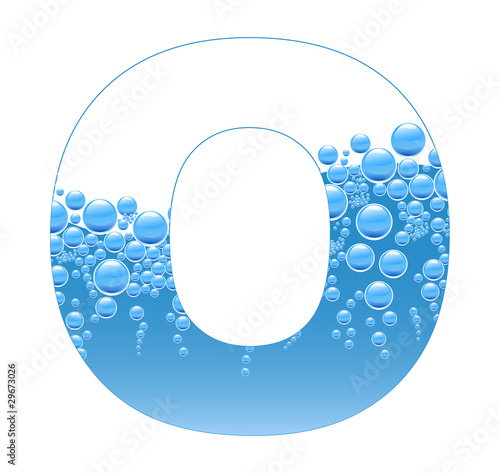 Bubbles and Water Isolated Alphabet Letter O