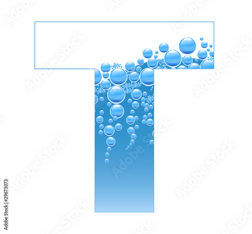 Bubbles and Water Isolated Alphabet Letter T
