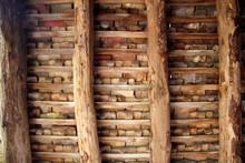 Argile tuiles toit Indor tuiles carrés de poutres en bois
