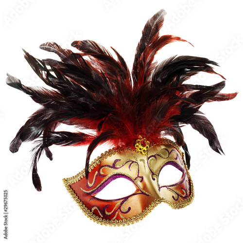 red and golden mask (Venice, Italy), isolated on white