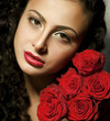 Girl with roses and red lips