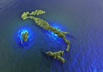 Italia 3d cartina acqua