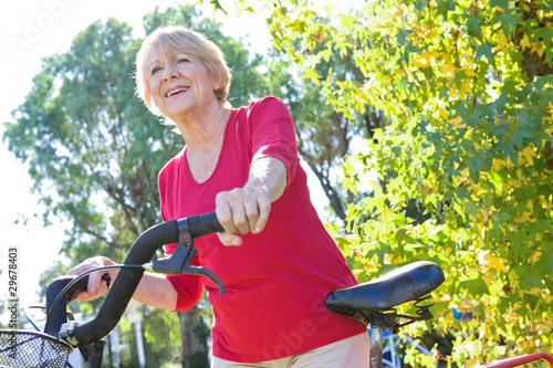 Senior woman on a bike
