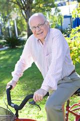 Grandfather riding a bike