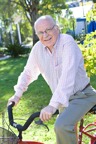 Grandfather riding a bike