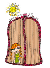 illustrated cute girl in the window