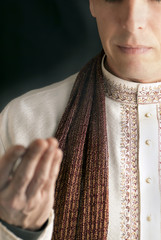 Peaceful Man In Traditional Indian Clothing In Prayer
