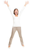 Vitality - energetic young happy woman on white poster