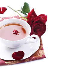 Healthy Tea with rose petals