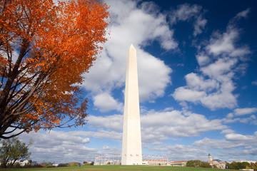 Washington Monument Autumn Framed Leaves Blue Sky