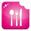 Pink chewed dining symbols icon