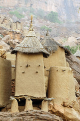 Close up of traditional Dogon village