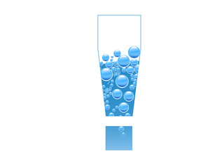 Bubbles and Water Isolated Alphabet Exclamation Mark !